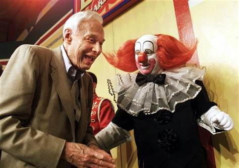 Alan W. Livingston, the creator of Bozo, seen here with Bozo at the 40th anniversary show