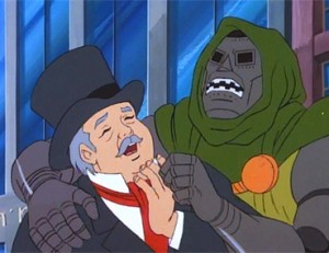 Why is Dr. Doom sharing a laugh with Bob Cratchet?