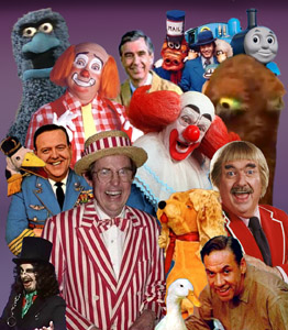 Featured here: Mr. Peppermint, The Beautiful Day Monster, Mr. Rogers, BJ and the Dragon (Gigglesnort Hotel), Thomas the Tank Engine, Mr. Snuffaluffagus, Cooky the Clown, Bozo, Frazier Thomas, Ray Rayner, Chelvaston the Duck, and Svengoolie